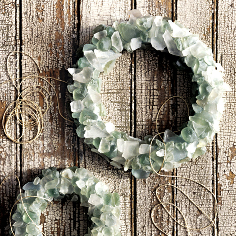 Beach glass wreath