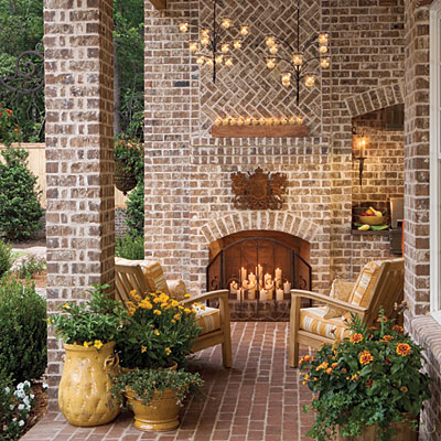 Candles-fireplace brick south liv