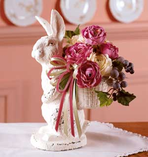 Wrought iron bunny vase (bhg)
