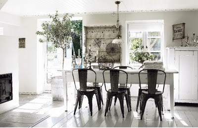 Inside Saddled Up To An All White Painted Farm Table With Backdrop I Like The Contrast Of And Galvanized Metal Chairs