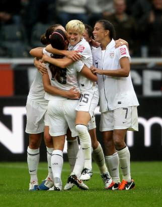 Soccer women team celebrate