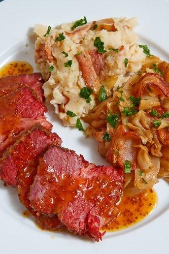 Apricot glazed corned beef