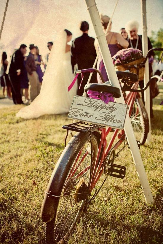 Tandem bike at wedding