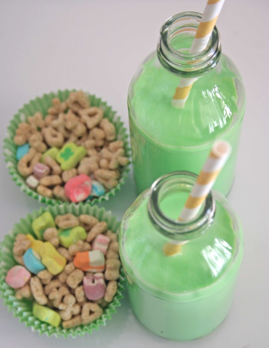 Lucy charms and green milk