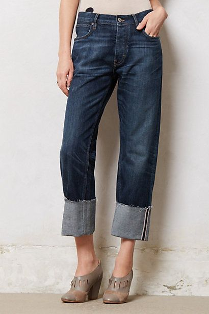Rolled up cuff jeans by anthro