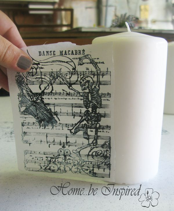 Stamp on candle