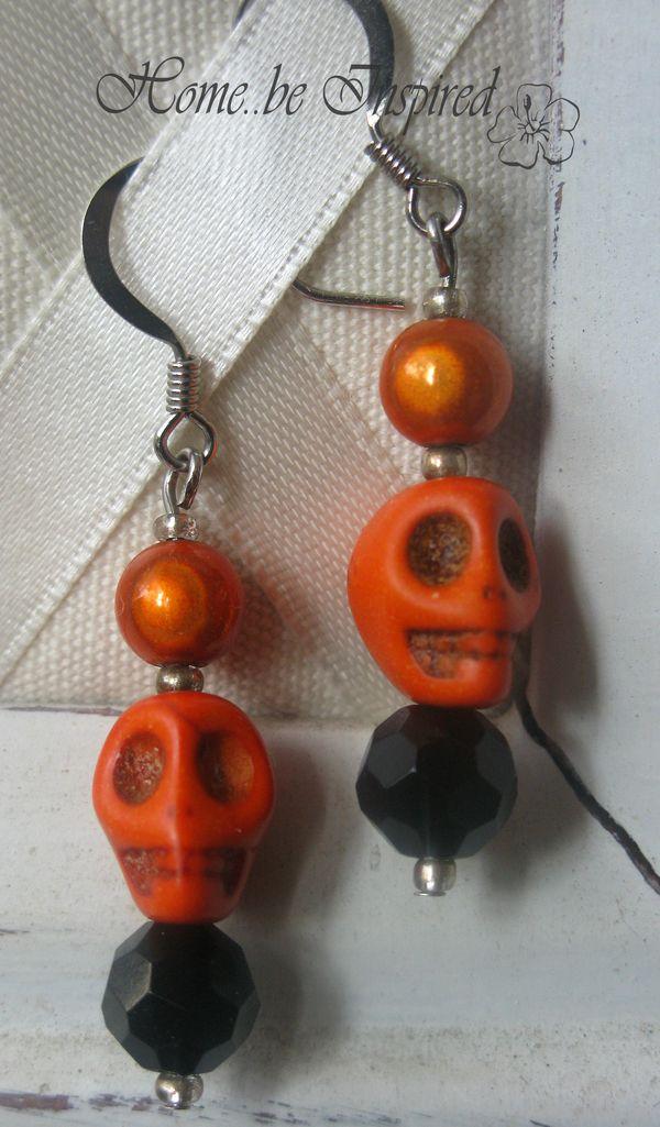 El dia de los muertos earring in orange
