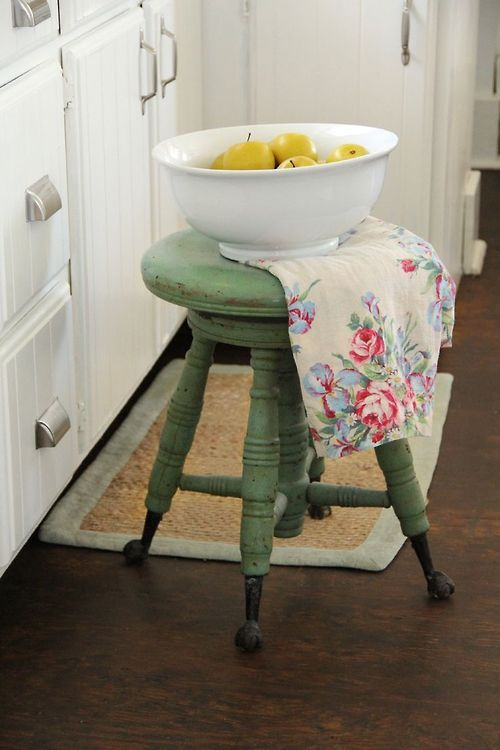 Green painted stool