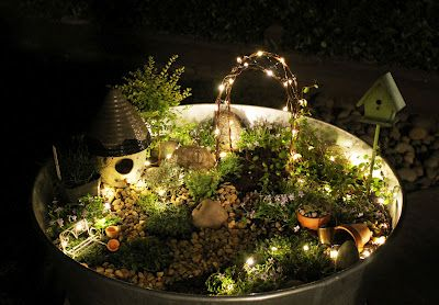 Fairy garden with lights