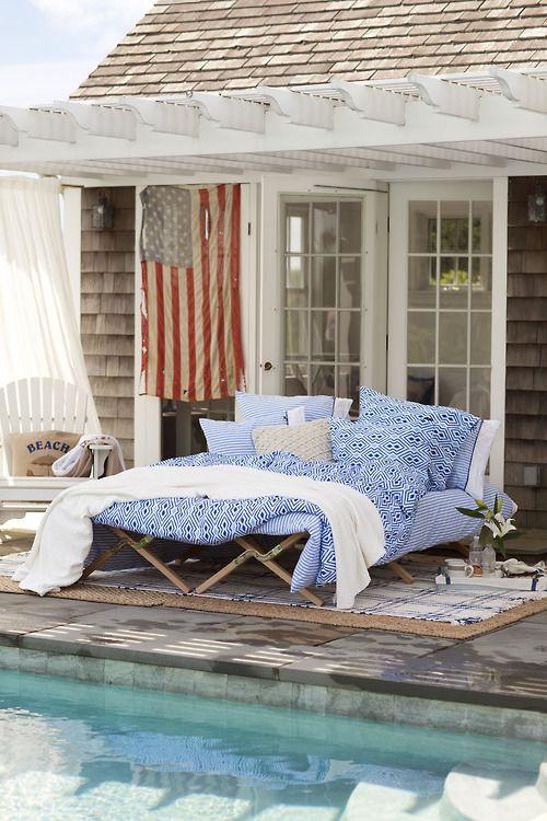 Outside bed near pool