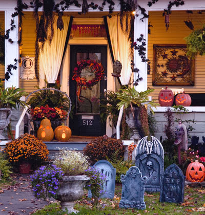 Spooky graveyard porch