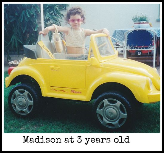 Madison in her love bug