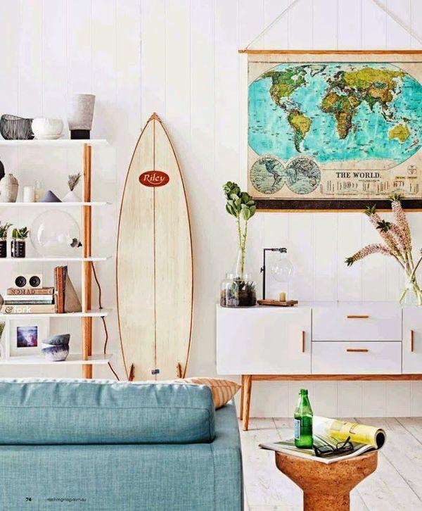 Surfboard in midcentury modern