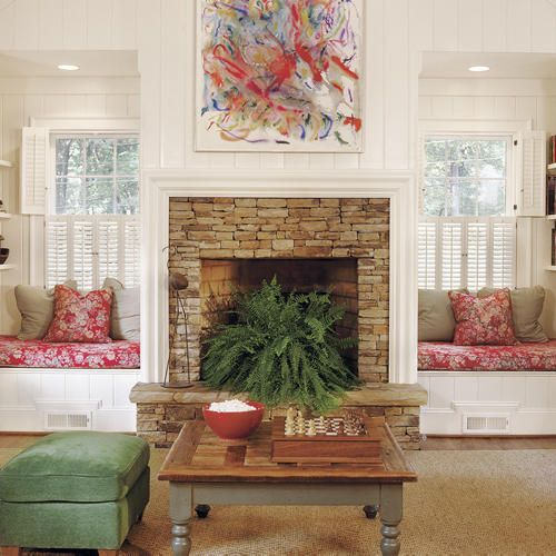 Fireplace bench seating