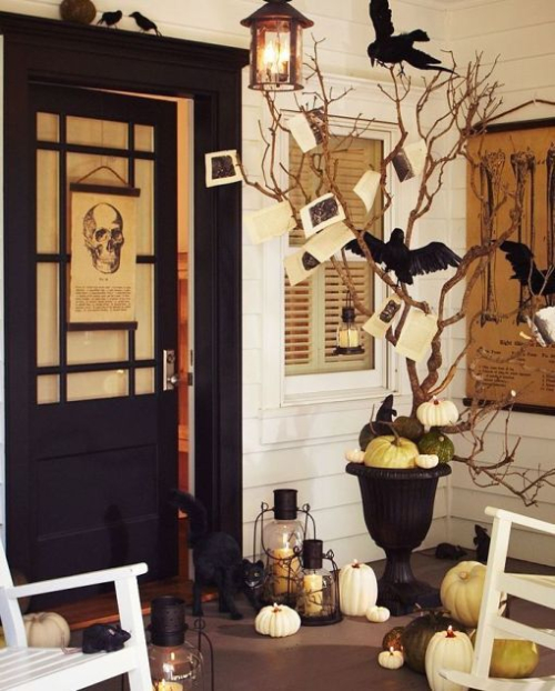 Spooky porch with crows