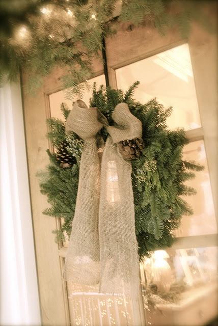 Xmas wreath with burlap