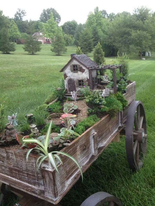 Fairy garden in a wagon