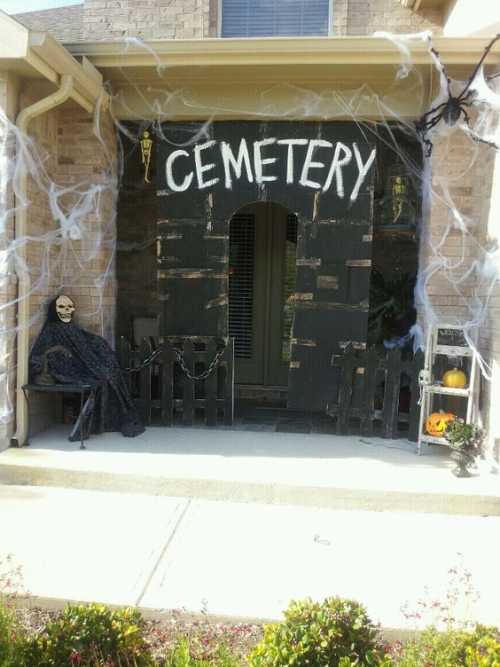 Scary cemetary front porch