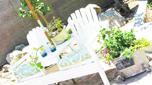 Green cottage bench