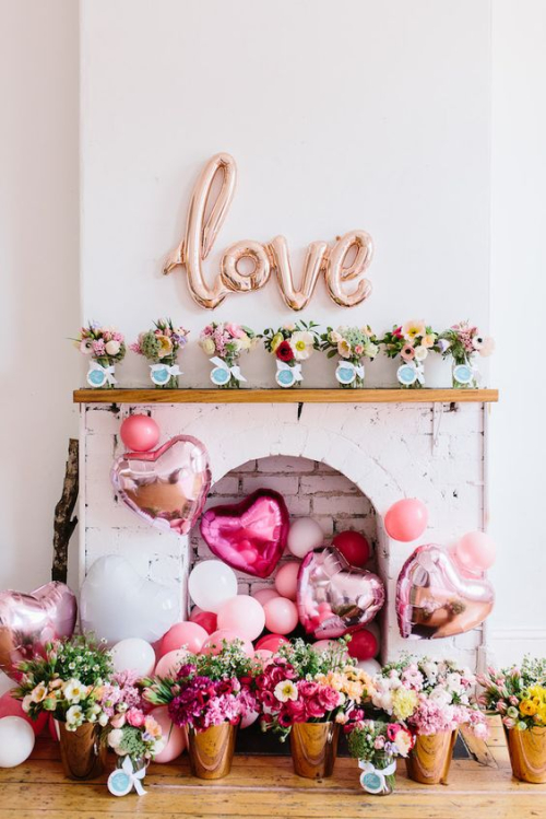 Valentines fireplace display