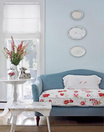 Carrie Raphael's blue velvet couch