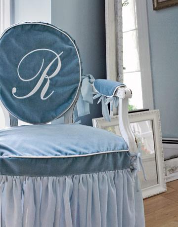 Carrie Raphael's velvet monogram chair
