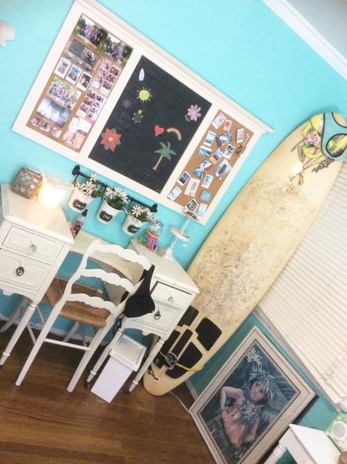 the vanity area and the chalkboard/corkboard