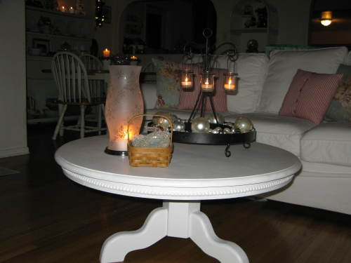 Nightime view of coffee table