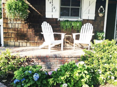 the brick porch in spring