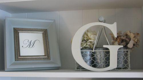 Shelf with my initials.