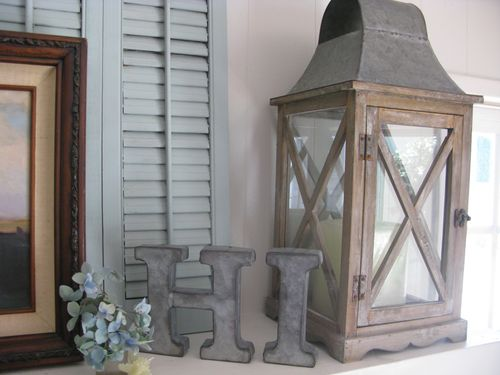 Large Rustic Lantern and Galvanized Letters